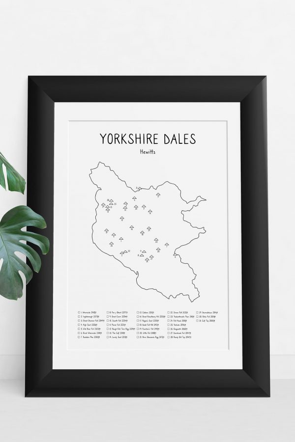 Yorkshire Dales Hewitts map art print in a picture frame
