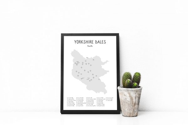 Yorkshire Dales Hewitts map shaded art print in a picture frame