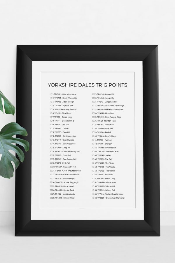 Yorkshire Dales trig points checklist art print in a picture frame