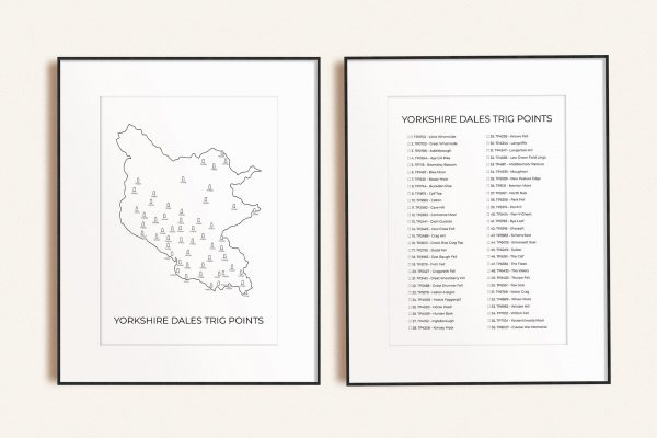 Yorkshire Dales trig points map checklist bundle of two art prints in picture frames