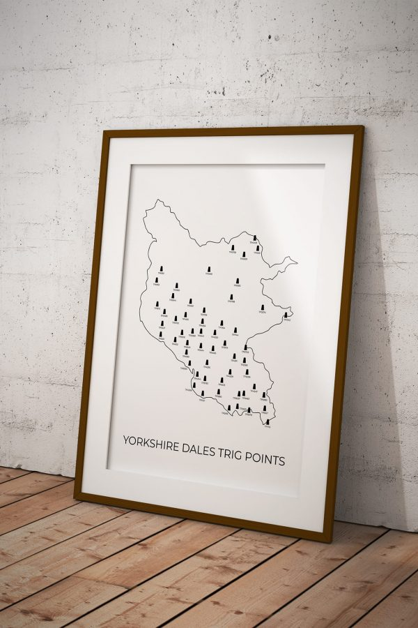 Yorkshire Dales trig points map art print in a picture frame