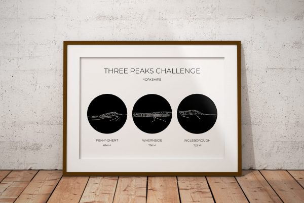 Yorkshire Three Peaks Challenge Circle Line Art Print in a picture frame