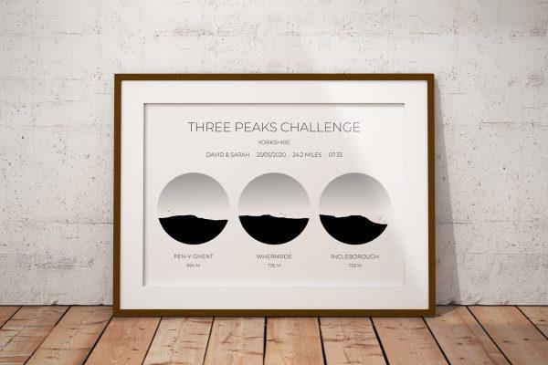 Yorkshire Three Peaks Challenge Personalised Print Example