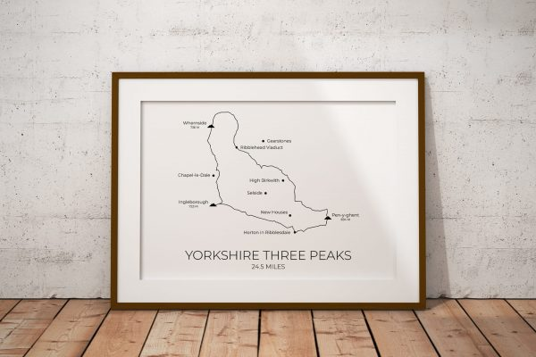 Yorkshire Three Peaks Challenge Route art print in a picture frame