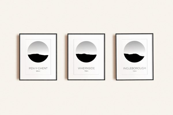 Yorkshire Three Peaks Challenge set of 3 art prints in picture frames