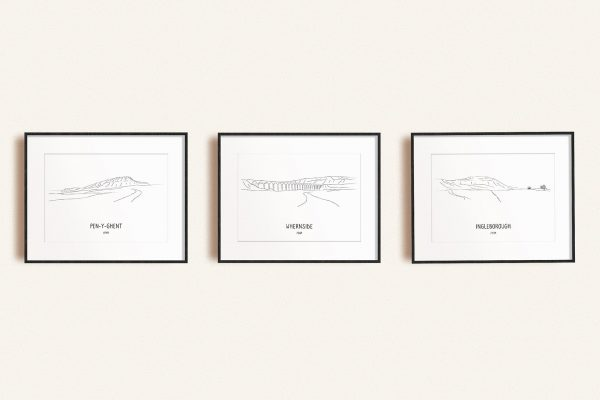 Yorkshire Three Peaks Challenge set of three line art prints in picture frames