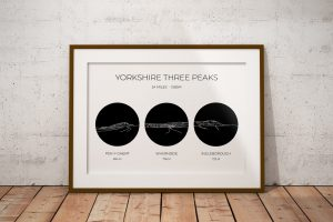 Yorkshire Three Peaks Circle Line Art Print in a picture frame