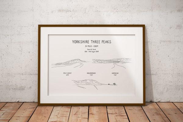 Yorkshire Three Peaks Horizontal Line Art Personalised Print Example