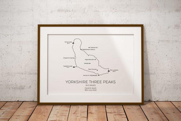 Yorkshire Three Peaks Route Personalised Print Example