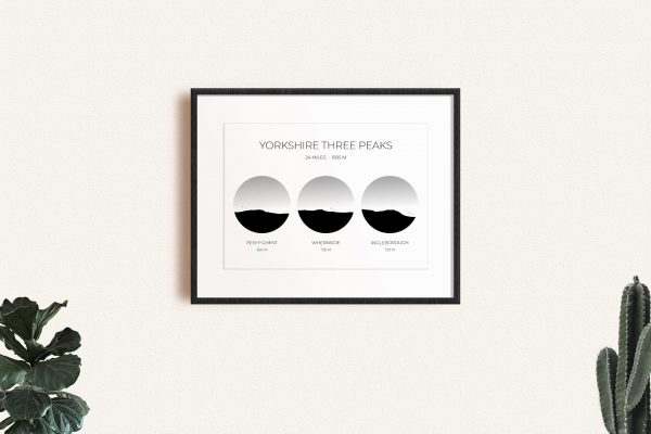 Yorkshire Three Peaks Silhouette Art Print in a picture frame