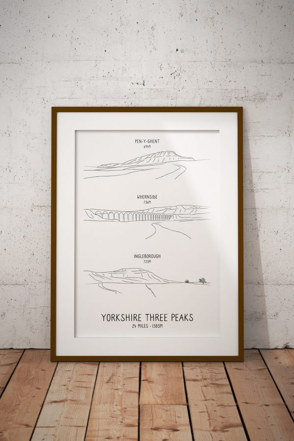 Yorkshire Three Peaks Challenge line art print in a picture frame