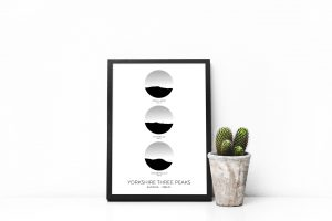 Yorkshire Three Peaks vertical circle art print in a picture frame