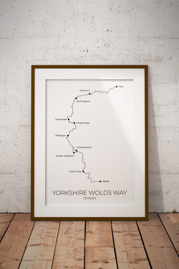 Yorkshire Wolds Way art print in a picture frame